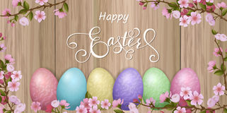 Happy Easter lettering, Gingerbread in the form of eggs. Spring holidays, Easter background. Stock Images