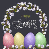 Happy Easter lettering, Gingerbread in the form of eggs. Spring holidays, Easter background. Vector illustration EPS10 Royalty Free Stock Images