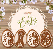 Happy Easter lettering, Gingerbread in the form of eggs. Spring holidays, Easter background Stock Images