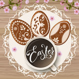 Happy Easter lettering, Gingerbread in the form of eggs. Spring holidays, Easter background Stock Photography