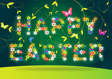 Happy easter lettering on green background. Cute Happy easter text with eggs for your design Royalty Free Stock Photo
