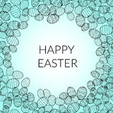 Happy easter lettering greeting card background vector illustration. eggs Royalty Free Stock Photos