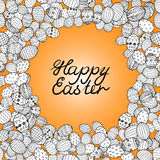 Happy easter lettering greeting card background vector illustration. eggs Royalty Free Stock Photography