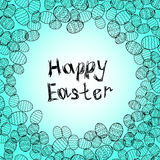 Happy easter lettering greeting card background vector illustration. eggs Royalty Free Stock Image