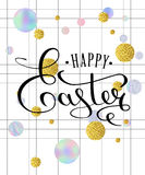 Happy Easter lettering greeting card. With doodle easter eggs on a white checkered background. Modern style trends 80. Calligraphy lettering with holographic Vector Illustration