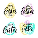 Happy Easter. Lettering on Hand drawn background royalty free stock images