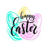 Happy Easter. Lettering on Hand drawn background. Vector illustration for greeting card Stock Images