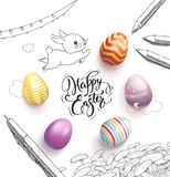Happy Easter lettering handwritten with calligraphic font, surrounded by colorful eggs, cute baby bunny, dandelions. Clouds, pen, pencils, garland hand drawn Stock Photo