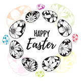 Happy Easter lettering inside hand drawn eggs wreath with with floral elements Stock Photography