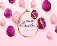 dbedb7366ca Happy Easter lettering with pink gold realistic looking eggs. Vector.  Geometric patterns. Resurrection