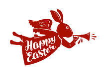 Happy Easter, lettering. Rabbit, bunny symbol Stock Images