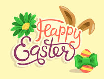 Happy Easter Lettering with Rabbit Egg and Flower Isolated  Stock Photography