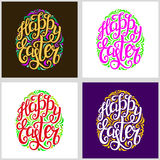 Happy Easter lettering typography cards. Set of colored hand lettering typography cards. Happy Easter script in a form of Easter egg. For posters, cards, t shirt Stock Images