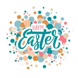 Happy easter lettering and circles royalty free illustration