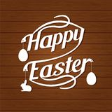 Happy easter lettering  White  letters text  on dark brown Royalty Free Stock Photos