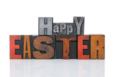 Happy Easter in letterpress Stock Photos