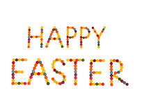 Happy easter. Letters are made of colored candy Stock Photography