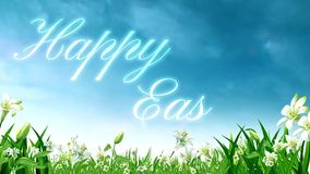 Happy Easter Light Beams on Lilly Field Loop. This video features rolling clouds above an animated lily field with an animated Happy Easter message with light stock illustration