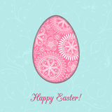 Happy Easter light blue card with pink egg Stock Photo