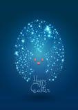 Happy Easter Light Dark Blue Background with Egg & Rabbit Stock Image