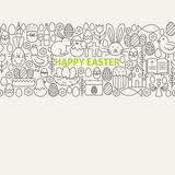 Happy Easter Line Art Icons Seamless Web Banner Royalty Free Stock Photography