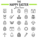 Happy Easter line icon set, holiday symbols. Collection, vector sketches, logo illustrations, celebration signs linear pictograms package isolated on white royalty free illustration