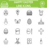 Happy Easter line icon set Stock Photos