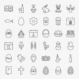 Happy Easter Line Icons Big Set Stock Photography