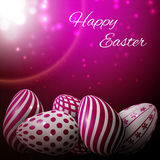 Happy Easter. A lot of pink white eggs with different patterns on a pink background, excellent vector illustration, EPS 10 Stock Photo