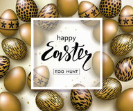 Happy Easter luxury banner background template with beautiful realistic golden eggs. Greeting card. Vector illustration. Stock Images