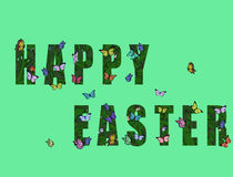 Happy Easter With Many Butterflies. Flying around Royalty Free Stock Image