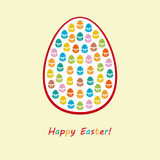 Happy Easter with many small colorful eggs and white background Royalty Free Stock Photo
