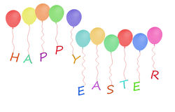 Happy Easter message with party balloons over white background Royalty Free Stock Photos
