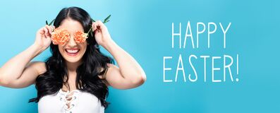 Happy Easter message with young woman holding carnations
