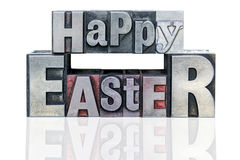 Happy Easter in metal letterpress Stock Images