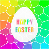 Happy Easter mosaic rainbow background. Happy Easter mosaic rainbowl background. Easter geometric pattern design template with a easter egg frame and colored Stock Photos