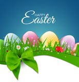 Happy Easter Natural Background with Eggs, grass, flower. Vector Illustration Royalty Free Stock Photo
