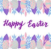 Happy easter nice card with hand drawn lettering. Eggs and leaves spring illustration frame. Raster format stock photos