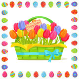 Happy Easter Note In Tulips Bouquet Illustration Royalty Free Stock Image