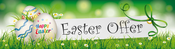 Happy Easter Offer Egg Paper Banner Green Ribbon Header. Easter eggs with paper banner, green ribbon and text Easter Offer Stock Photography