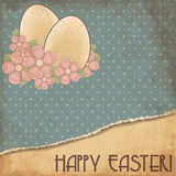 Happy Easter old greeting card, vector Stock Image