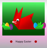 Happy Easter origami bunny card. The Easter bunny with Easter eggs Stock Images