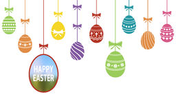 Happy Easter ornaments with hanging eggs Royalty Free Stock Photo