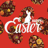 Happy Easter ornate lettering floral greeting card Stock Photos