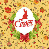 Happy Easter ornate lettering floral greeting card Royalty Free Stock Photos