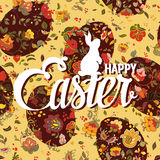 Happy Easter ornate lettering floral greeting card Royalty Free Stock Image
