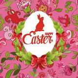Happy Easter ornate lettering floral greeting card Stock Photography