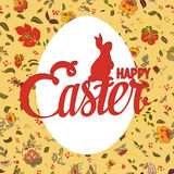 Happy Easter ornate lettering floral greeting card Royalty Free Stock Photo