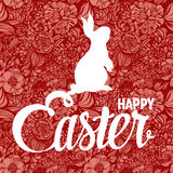 Happy Easter ornate lettering floral greeting card Stock Image