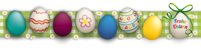 Happy Easter Ostern Eggs Header Checked Cloth. German text Frohe Ostern, translate Happy Easter Royalty Free Stock Image
